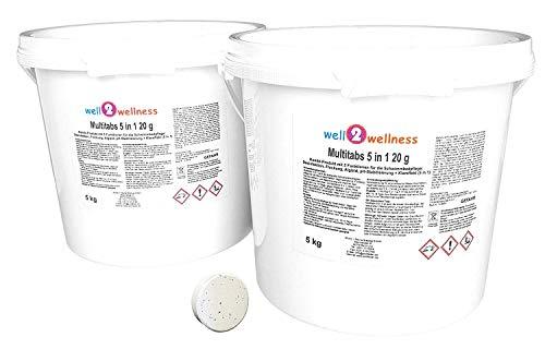 well2wellness Chlor Mini Multitabs 5 in 1 / kleine Multitabs 20g mit 5 Funktionen - 10 kg (2 x 5 kg)
