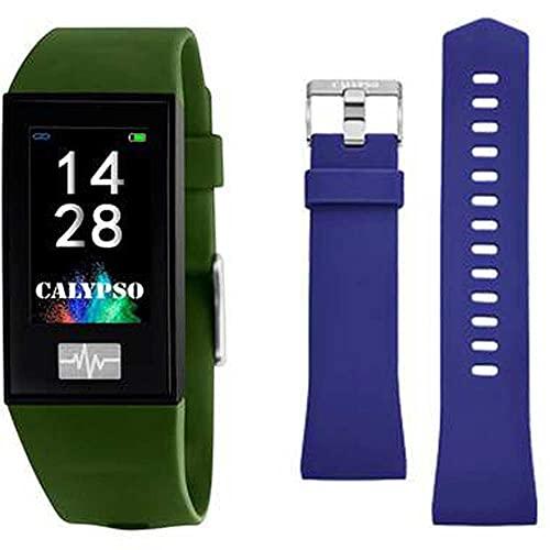 CALYPSO Reloj Modelo K8500/8 de la colección SMARTWATCH, Caja de 23,80/41,60 mm Digital con Correa de Caucho Verde Oscuro para Caballero