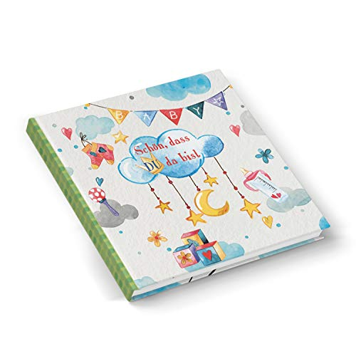Logboek-uitgeverij leeg babydagboek mooi dat je da bist cadeau-idee geboorte baby blauw groen jongen meisje babyboek vierkant 21 x 21 cm cadeau