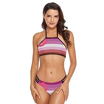 Women s Halter Bikini Swimwear Lipstick_Lesbian_Pride_Flag High Neck Two Piece Bikini Swimsuits