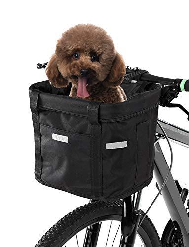Lixada Bicycle Front Basket Removable Waterproof Bike Handlebar Canvas Basket Pet Carrier Frame Bag