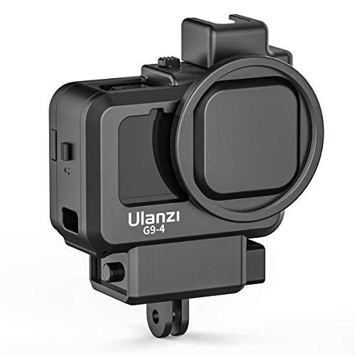 Linghuang Vlog Mount Jaula para cámara GoPro Hero 9 Black Camera Jaula Vlog Frame Jaula de vídeo con interfaz de filtro de 55 mm, tapa de objetivo y funda protectora de plástico