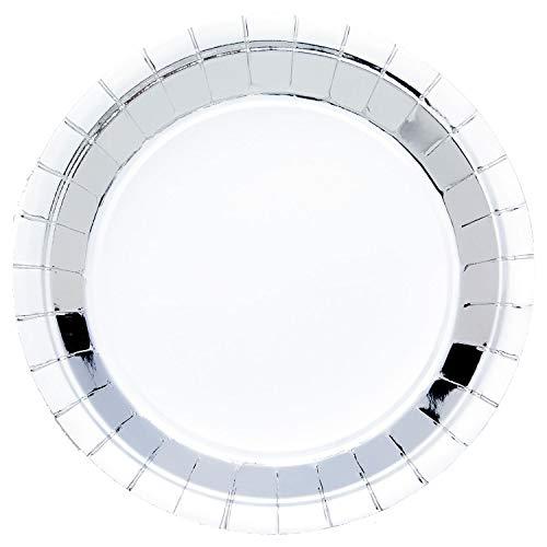 Amscan Platos redondos desechables de plata metálica, papel