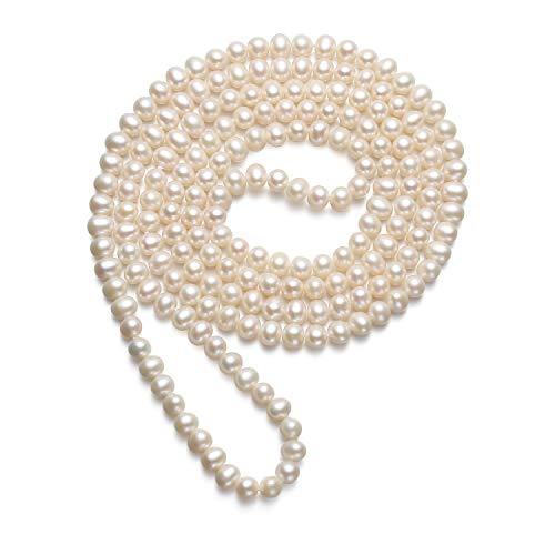 """VIKI LYNN Collier Perle de Culture d'eau Douce Sautoir en Perles Long Qualité AAA 6.0-7.0mm Cadeau Parfait pour la mère et la Dame, 47""""/120cm"""