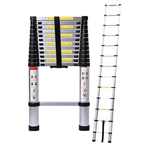 5M/16.4ft Aluminum Extension Folding Telescopic Loft Ladder Straight Attic...