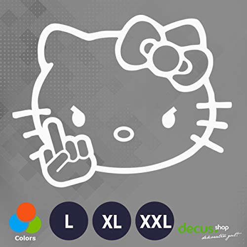 Decus Hello Kitty FUK You L 1956 (weiß) // Sticker OEM JDM Style Aufkleber