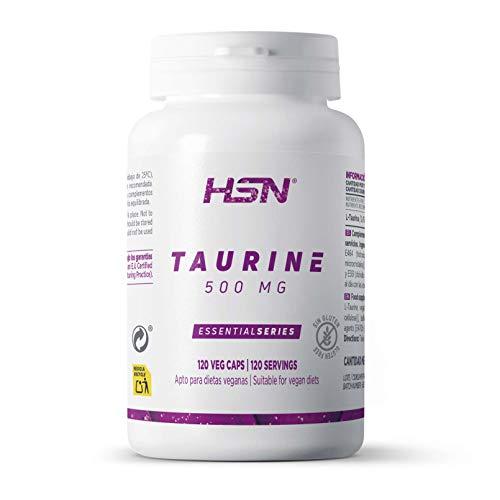 L-Taurina de HSN | 500mg | Aminoácido Taurina en Forma Libre | + Hidratación + Calambres Musculares | Vegano, Sin Gluten, Sin Lactosa | 120 Cápsulas Vegetales