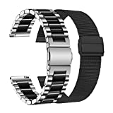 LAXMR 22mm Band Compatible with Galaxy Watch 3 45mm/Gear S3 Frontier/Classic Watch/Samsung Galaxy Watch 46mm, 2 Pack Mesh Loop Band+Solid Stainless Steel Metal Strap for women men (Silver/Black+Black)