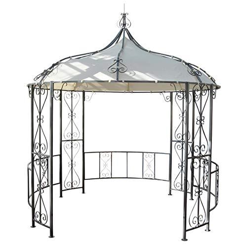 Mendler Pergola Almeria, Rundpavillon Garten Pavillon, stabiles Stahl-Gestell Ø 3m - Creme