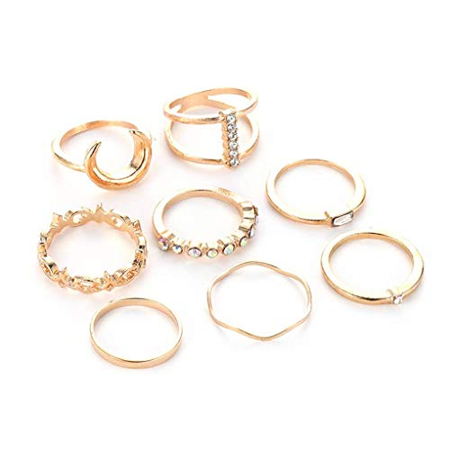 kakiyi Bohemian Retro Luna congiunta anello dell'articolazione Imposta Donne Ragazze strass a forma di cuore Anelli a mano gioielli Set zhibeisai