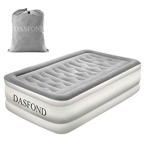 DASFOND Best Inflatable Air Mattress, Raised Blow up Airbed with Built-in Electric Pump and Storage Bag, Easy Setup, Height 18'', Twin Size
