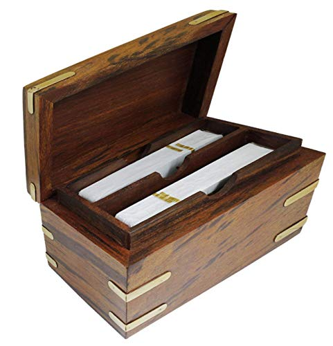 The Mind Challenge Out Cards Handmade Wooden Playing Card Case Double Deck Holder Organizer for Poker