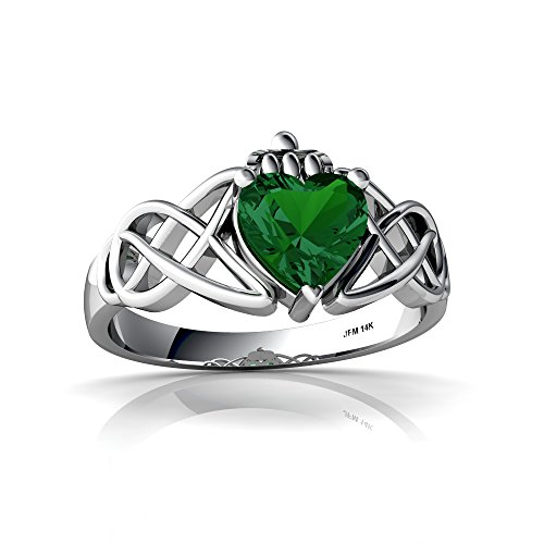 14kt White Gold Lab Emerald 6mm Heart Claddagh Celtic Knot Ring - Size 7.5