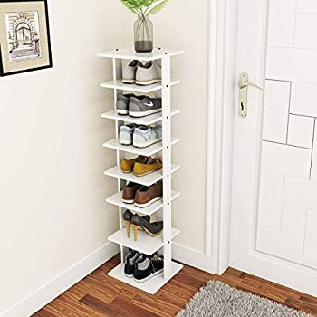 Tangkula 7 Tiers Vertical Shoe Rack Entryway Slim Wooden Shoes Racks Skinny Shoe Rack Organizer Space Saving Shoes Storage Stand for Front Door  White Single