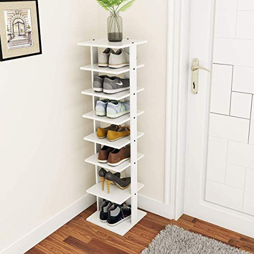 tall shoe storages Tangkula 7 Tiers Vertical Shoe Rack, Entryway Slim Wooden Shoes Racks, Skinny Shoe Rack Organizer, Space Saving Shoes Storage Stand for Front Door (White, Single)