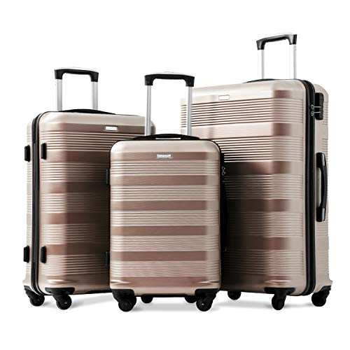 Set of 3 Super Lightweight ABS Hard Shell Travel Spinner 3 Pieces Luggage Combination Number Lock Suitcases with 4 Wheels-20/24/28 (Champagne)