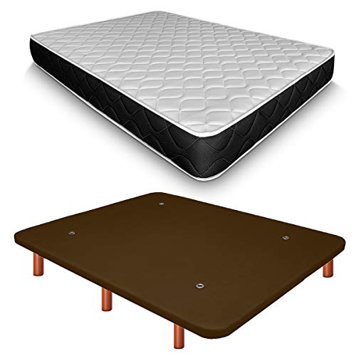 Duérmete Online Base Tapizada 3D Reforzada Anti Ruido + Colchón Viscoelástico Pocket Visco | Patas de Madera Color Cerezo, Chocolate, 90x190
