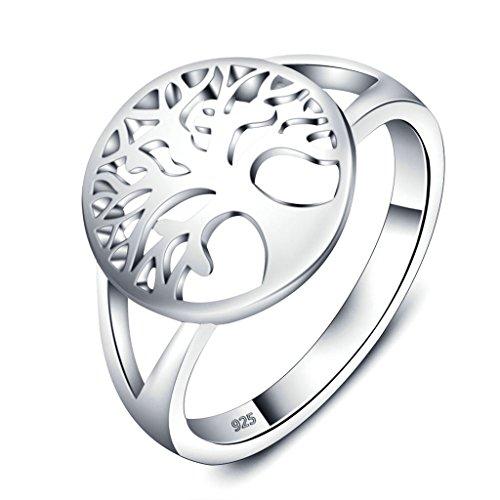 Daesar Silber Ring Frauen Baum des Lebens Ring Eheringe 12MM Größe:57 (18.1)