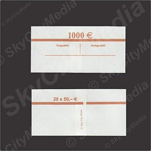Banderolen für Euro Geldscheine je 50x (50 € Banderole) Geldbanderole Papier für Geldbündel Fassungsvermögen je 20 Scheine