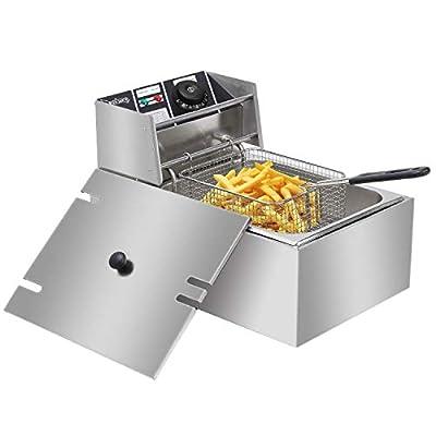 2500W 6L Commercial Electric Deep Fryer Restaurant Stainless Steel 6.3QT