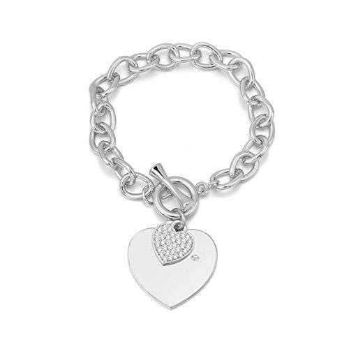 Ouran - Pulsera de Plata con Colgante de corazón y Cadena de eslabones con Cristales para Mujer