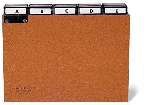 Durable 425511 Registro de guía A, Z hecho de cartón prensado, A5 transversal, marrón