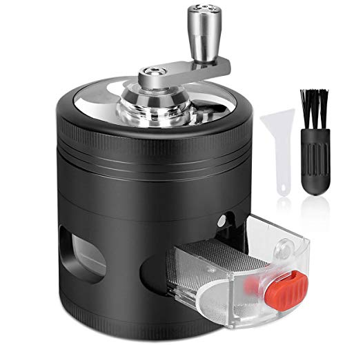 2.5 Inch Herb Grinder, 4 Piece Spice Grinder with Pollen Catcher, Hand-Cranked and Drawer, 2.5 Inch Large Metal Zinc Alloy Grinder with Brush [Black]