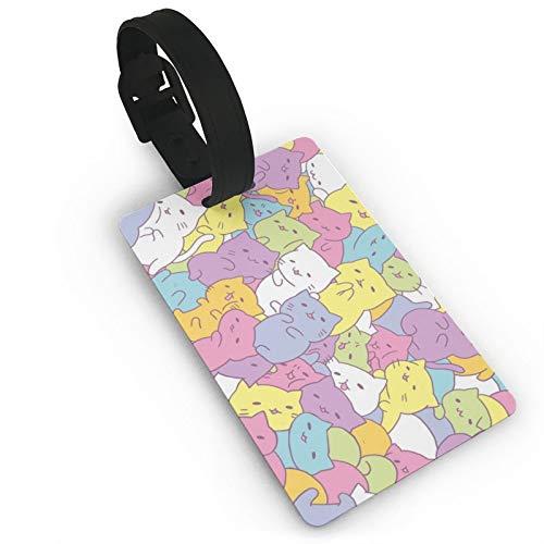 Etiqueta de equipaje Kawaii Gatos, tarjetas de identificación de anime, etiquetas de viaje para maleta, maletero, privacidad, etiquetas de identificación, 3.7 x 2.2 pulgadas