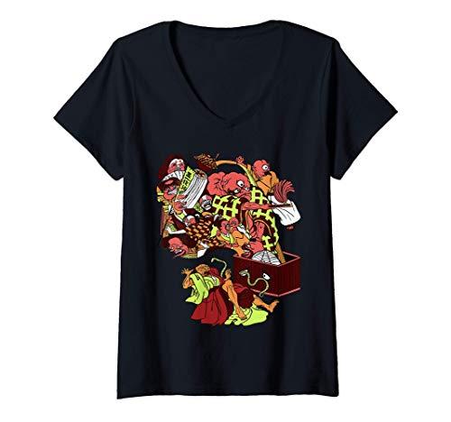Donna Fantastico passero giapponese Oni Ogre Tongue-Cut. Demoni Maglietta con Collo a V