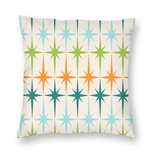 Meius - Funda de cojín con diseño geométrico de Starbursts vintage de terciopelo suave, decorativa, cuadrada, funda de almohada para sala de estar, sofá o dormitorio con cremallera invisible de 20 x 20 pulgadas