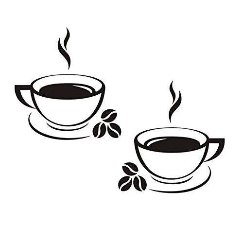 Cosanter Wandtattoos Küche Wanddeko Kaffee Cafe Coffee Wandsticker Wandaufkleber schwarz, 43 x 25 cm