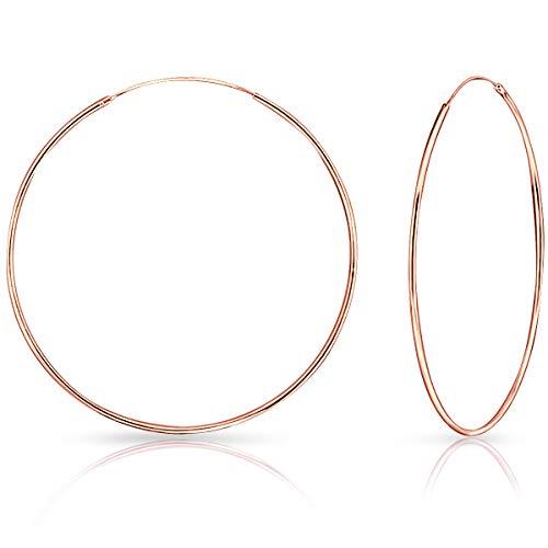 DTPsilver - Damen - Groß Creolen - Ohrringe 925 Sterling Silber und Rose Vergoldet - Dicke 1.2 mm - Durchmesser 80 mm…