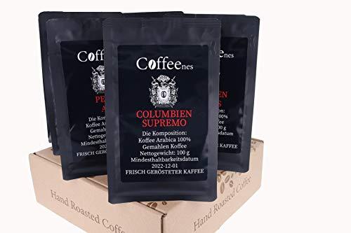 Coffeenees Kaffee Arabica Bohnenkaffee Probierset 6 x 100 g | Gemahlener Röstkaffee, 6 unterschiedliche Kaffeesorten | Verschiedene Aromen, Säuren und Körper | Für Kenner und Kaffeeliebhaber
