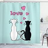 ABAKUHAUS Katze Duschvorhang, Tangled Tails in Love, Waserdichter Stoff mit 12 Haken Set Dekorativer Farbfest Bakterie Resistet, 175 x 180 cm, Multicolor