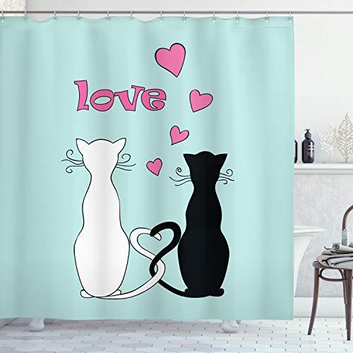 ABAKUHAUS Gato Cortina de Baño, Enredados Colas en el Amor, Material Resistente al Agua Durable Estampa Digital, 175 x 180 cm, Multicolor