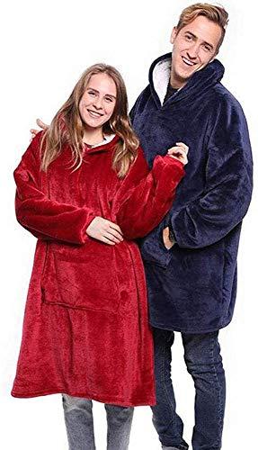 Flannel Hoodie Couverture Chaude Douce Robe Sweat Pull avec des Manches Velvet Épaisse Plaid Couverture, Sweat à Capuche Super Doux Chaud Confortable Taille Unique Bleu