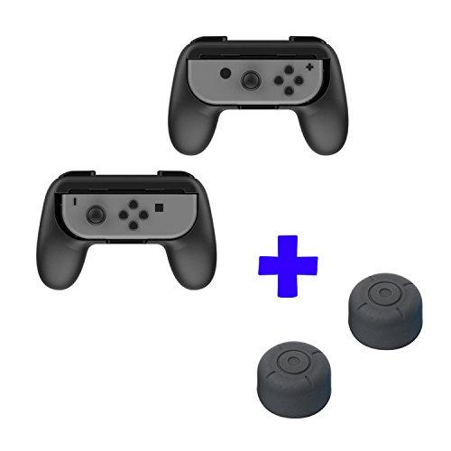 QUMOX Dobe Control ergonómico del diseño Joystick Handle Grip L + R Kit de Soporte para Viaje - Negro & Cubiertas de Palo de Agarre Thumb Grip - Negro para Nintendo Switch Joy-con