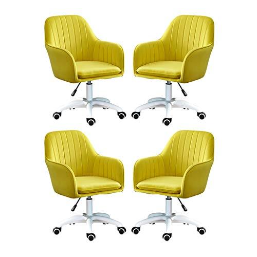 HEJINXL Sillas Cocina Escritorio Silla Giratoria Metal Swivel Chair Five Claws Terciopelo Independent Pad Oficina Silla Ergonómica Oficina Púrpura (Juego 4 Piezas) Comedor Sillas Taburetes