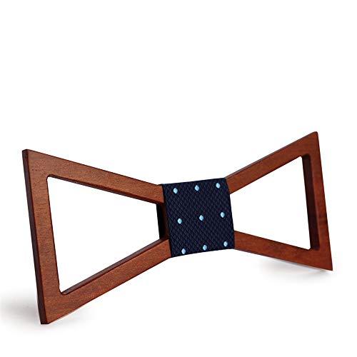 Pajarita de boda para hombre Corbata minimalista hueca para hombre contratada Corbatas de lazo de madera real Corbata de tela de cuero de corcho La corbata 16.0 cm * 8.0 cm * 2.0 cm para trajes de acc