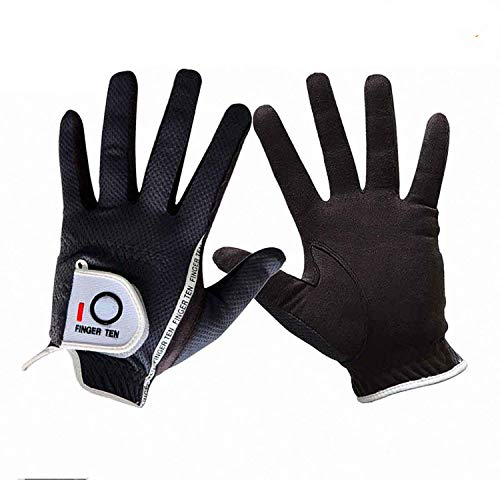 Finger Zehn Herren Golf Handschuh Paar beide Hand Value Pack Hot Wet Rain Grip, Farbe schwarz grau Fit Small Medium Large XL, grau, S-1 Pair …