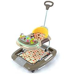 Daliya BEBISTEP 4in1 Speel- en hardloopkarretje - Babywalker - Babyrocker met muziek & speelcentrum & eettafel - kleur bruin-grijs-geel*