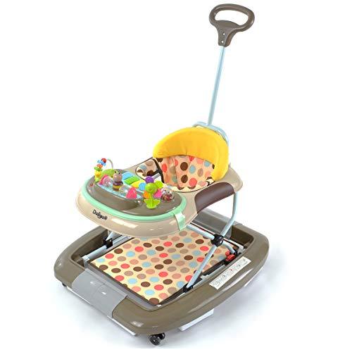 Daliya BEBISTEP 4in1 Spiel- und Lauflernwagen - Babywalker - Babywippe mit Musik- & Spielecenter & Esstisch - Farbe Braun-Grau-Gelb