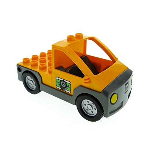 Bausteine gebraucht 1 x Lego Duplo Auto orange neu-dunkel grau Transporter Werkstatt Wagen Werkzeug Pickup 4964 47438c01pb02