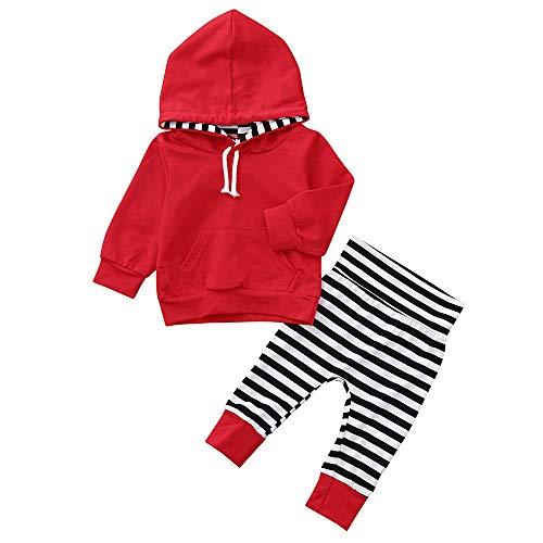 K-youth Ropa Niño Otoño Invierno Liquidación Sudaderas con Capucha Niño Manga Larga Infantil Recien Nacido Conjuntos Bebé Niño Camisetas Blusas Tops + Pantalones con Rayas(Rojo, 0-6 Meses)