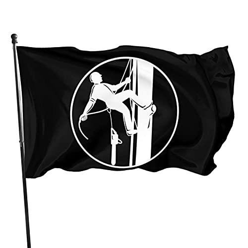 DRXX Bandera Decorativa para Exteriores de 150x90 cm, círculo de Cuerda y Motosierra para árboles trepadores de arbolista, fácil de Instalar, Duradera y de Colores sólidos