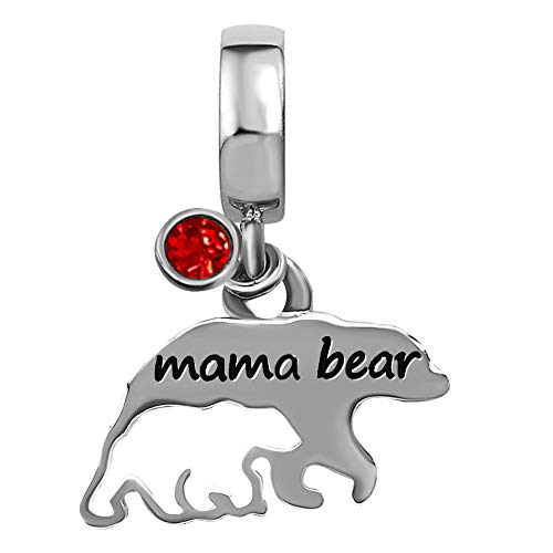 TGLS Mom Love Child Mama Bear Charm for Mother Jan-Dec Simulated Birthstone Bead for Charms Bracelet