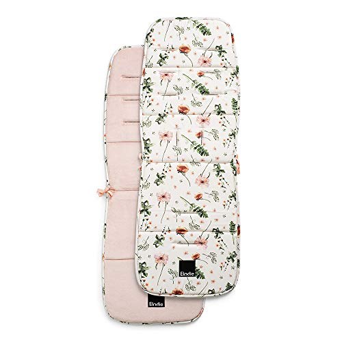 Elodie Details Colchoneta Universal para Silla de Paseo Reversible Acolchado Lavable CosyCushion - Meadow Blossom, Blanco/Rosa
