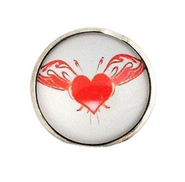 ANDANTE - Charm con Cierre a presión Chunk Click-Button Corazón con alas para Pulseras Chunk, Anillos Chunk y Otros Accesorios Chunk