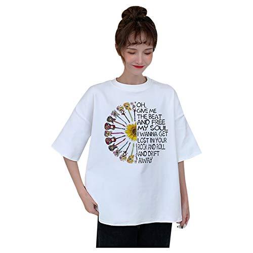 Janly Clearance Sale Blusa de manga larga para mujer, cuello redondo, manga corta, diseño de guitarras y letras, para invierno, Navidad (blanco/3XL)