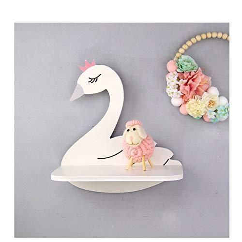 Scaffale galleggiante a forma di cigno bianco in legno appeso decorativo galleggiante scaffale per la ragazza bambini camera da letto decorazione della parete
